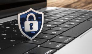 PC-Tastatur mit Datenschutz-Piktogramm
