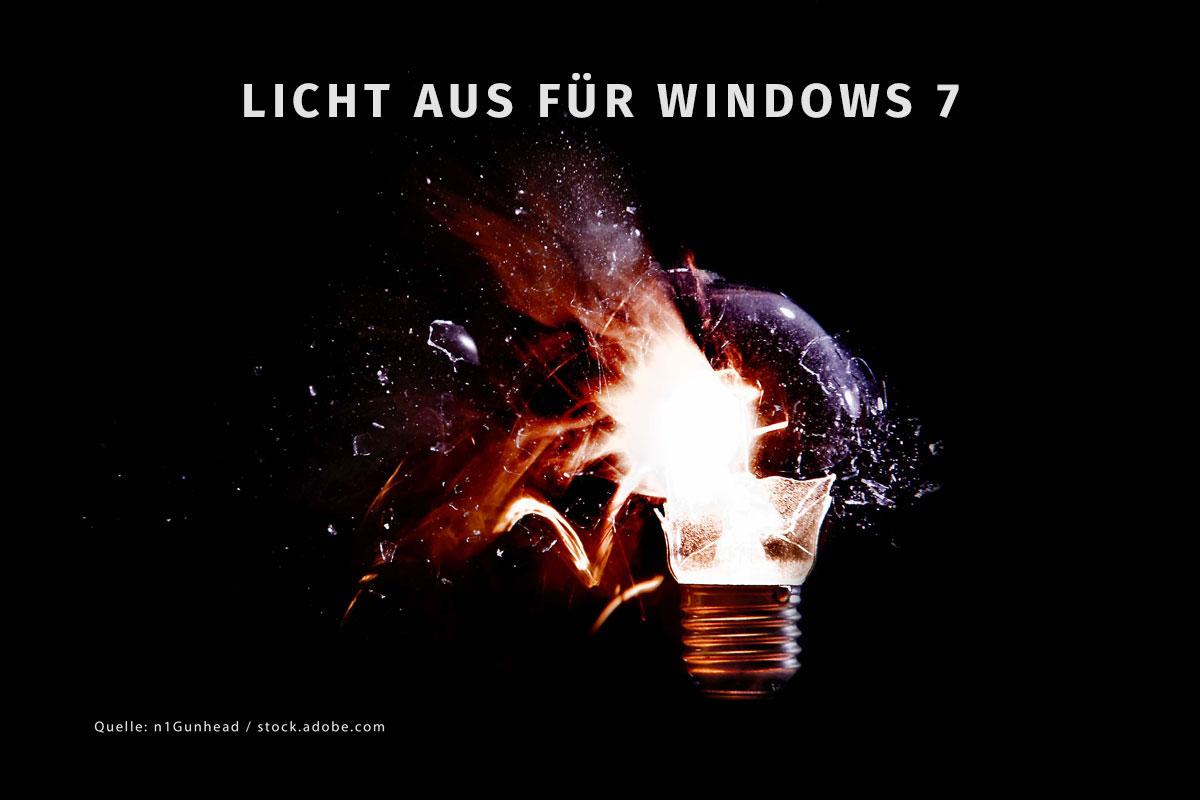 Windows 7 Supportende durch eine zerplatzende Glühbirne symbolisiert