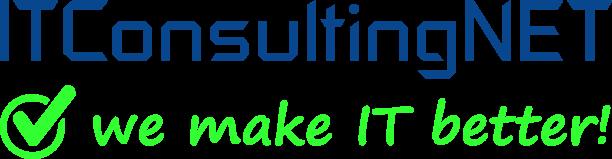 Logo ITConsultingNET in blau Logo we make it better in grün